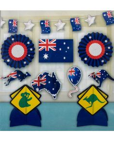 Whether you are decking your house out for Australia Day or to support Australia in any sporting event, you will need this Australian Room Decorating Kit. Featuring a garland, 1 table centerpiece, 5 cutouts and 2 paper fan decorations. This kit is ju Paper Fan Decorations, Banquet Decorations, Party Props, Party Themes, Australian Party, Aus Day, Australia Day, Melbourne Australia, Australia Travel