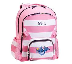 Fairfax Large Backpack Stripe Pink/White with Navy Trim Dragon