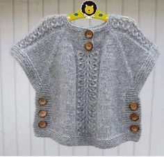 TC Hatice Karel [ knit sweater tunic poncho with side buttons kids sweater, Idea for poncho like top, j aimerais avoir les explications sv p merci, havenBirinci [ Wish I could find the pattern for this adorable little top. Baby Knitting Patterns, Knitting For Kids, Baby Patterns, Hand Knitting, Poncho Patterns, Crochet Patterns, Crochet Edgings, Cardigan Pattern, Crochet Motif