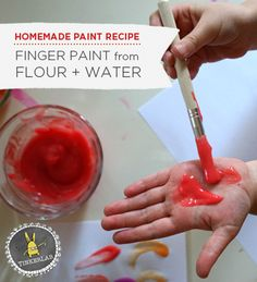 Make your own safe and easy homemade finger paint from flour, water, and food coloring. Perfect for small children to explore with, and safe to eat. Toddler Art, Toddler Crafts, Preschool Crafts, Fun Crafts, Toddler Activities, Daycare Crafts, Bible Crafts, Projects For Kids, Diy For Kids