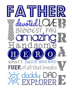 Father's Day Subway Art FREE Printable