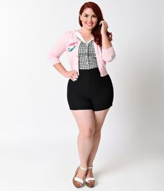 Feel like being flooded with compliments? Fresh from Steady with a nautical twist, the Bombshell plus size retro shorts are rockabilly perfection, complete in a luxuriously stretchy jet black blend. Curve clutching and strategically darted with a vintage