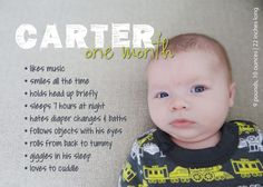Monthly Milestones: 1-Month-Old Custom Baby Stats Print AND Digital File