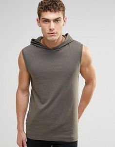 ASOS Muscle Sleeveless T-Shirt With Hood In Khaki