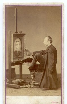 1870 Full view of armless man painting his portrait with his feet.