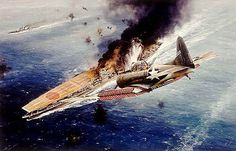 The Battle of Midway. IJN  Akagi World war ii aircraft carrier hit by Douglas SBD Dauntless dive bomber at Midway.
