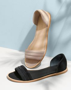 APR '15 Style Guide: J.Crew women's Hayes suede sandals in sandy brown and black.