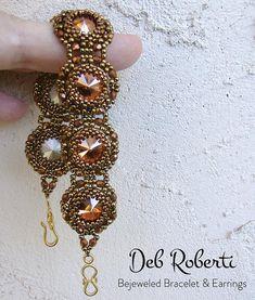 Bejeweled Bracelet & Earrings, beaded rivoli pattern