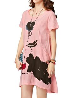 Elegant Women Lotus Ink Printing Pocket Irregular Linen Dress