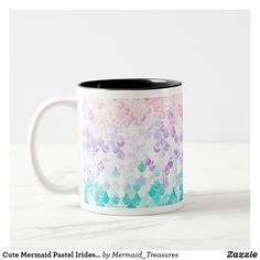 Cute Mermaid Pastel Iridescent Pink Purple Teal Two-Tone Coffee Mug - bedroom decor diy custom Mermaid Kids, Cute Mermaid, Diy Birthday Decorations, Birthday Crafts, Baby Girl Nursery Decor, Girl Decor, Kid Bathroom Decor, Diy Bedroom Decor, Birthday Nail Designs