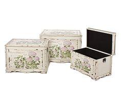 Conjunto de 3 caixas decorativas para armazenamento SELINE - abeto