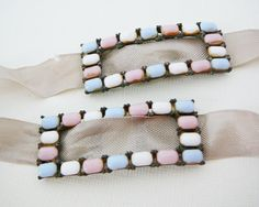 #Vintage #Pastel Cabochon #Buckle .. Baby Pink Blue white , $30.00