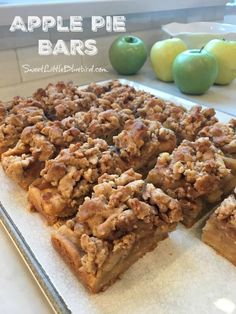 APPLE PIE BARS - Easier than apple pie! These apple pie bars have an amazing short bread bottom crust and shortbread crumble topping with a perfect apple filling in the middle. A new family favorite that we will be making for years to come. Apple Desserts, Just Desserts, Delicious Desserts, Dessert Recipes, Yummy Food, Fall Desserts, Bar Recipes, Dessert Ideas, Recipies