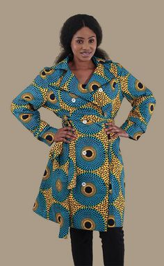African Print Woman's Jacket - This beautiful women's African print fabric jacket is perfect for fall, winter, and spring.  The bold colors and prints on this African patterned jacket is a perfect addition to any outfit.  You can dress it up or down, so its perfect for a dressy casual event, or wearing to work.  #africa #african #fashion #style #africanfashion #womensfashion #jacket #coat #pattern