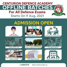 🔥CENTURION DEFENCE ACADEMY: OFFLINE COURSE FEATURES 🎯• Regular Classes As Per Lesson Plan & Strict Schedule 🎯• Classes In Both English & Hindi 🎯• Free Study Material & Bag 🎯• Weekly Extra Class & Doubt Clearing Session 🎯• Weekly Mock Test 🎯• Free Access Of Centurion Defence Academy Student App 🎯• SSB Interview / MNS Panel Interview / IAF Phase 2 Guidance 🎯• CPSS Facility #ndaofflinecourse #cdsofflinecourse #afcatofflinecourse #airforceofflinecourse #mnsofflinecourse #admissionopen Smart Class, Mock Test, Study Materials, Student App, Phase 2, How To Plan, Schedule, Interview, English