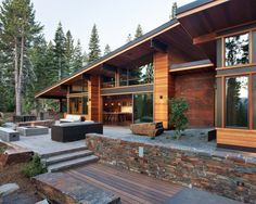 Exotic Mountain House Using Exotic Wooden Material and Natural Stone: Sleek Mountain Modern Digs Exterior With Modern Patio Furniture