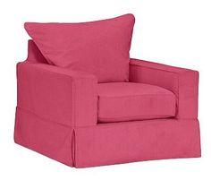 PB Comfort Square Arm Armchair Slipcover, Knife Edge, Linen Blend Pink Magenta