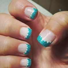Teal, aqua, tips, French manacure, white dots