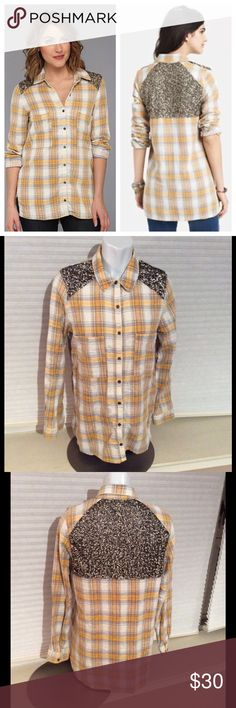 """Free People Little Bit Sugar Plaid Sequin Flannel Densely sewn sequins lend sparkle and glam to a rustic plaid shirt for riveting style. 29"""" front length; 30 1/2"""" back length (size Medium). Chest pockets. 100% cotton. Hand wash cold, lay flat to dry. By Free People; imported. t.b.d. Free People Tops Button Down Shirts"""