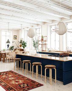 Blue Kitchen Island, Modern Condo, Mid Century Modern Kitchen, Condo Kitchen, Studio Living, Vintage Space, Functional Kitchen, Interior Design Inspiration, Kitchen Inspiration