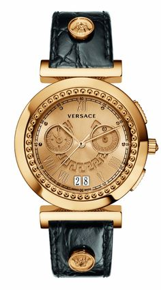 $1,550.00 Versace #Womens Vanity Chrono, Rose Gold, Ion-Plated, Stainless Steel, Big Date Chronograph #Watch