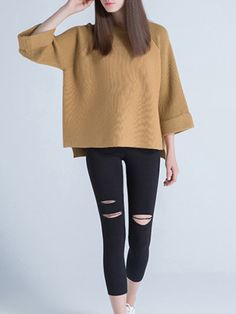 #StyleWe Shop Sikya Sweaters - Camel Long Sleeve Wool Blend Knitted Sweater online. Discover unique designers fashion at AdoreWe.net.