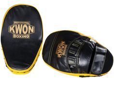 KWON PROFESSIONAL BOXING Coaching Mitt Leather In high quality leather, suitable for professional punch training. Delivery in pairsOuter material: leatherColour: Black/Yellow Martial Arts Equipment, Professional Boxing, Boxing Coach, Punching Bag, Mixed Martial Arts, Black N Yellow, Coaching, Hats, Leather