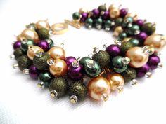 Pearl Bracelet in Winter Colours Cluster Bracelet by KIMMSMITH