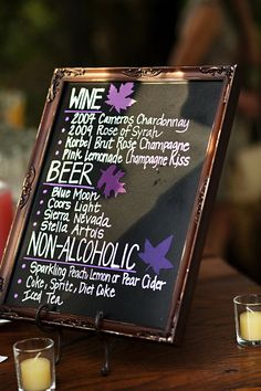 nice little drinks menu for a wedding with an open bar...for Andrea