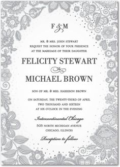 Delicate Embroidery - Signature Foil Wedding Invitations - East Six Design - Pearl - White : Front