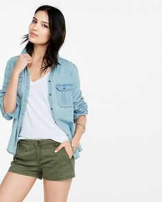 olive twill trouser pocket short shorts