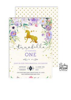 Unicorn Birthday Invitation / Woodland Birthday by LuckyPlumStudio
