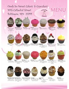 oooh so sweet - Cupcake , Custom Cake  and Cakepop Flavor OptionsDelivery and Shipping are availale for all cupcakes, cake pops, whoopie pies and most cakes. We Have over 30 Cupcake Flavors Available Daily Printable Menu (click here to download your printable menu)