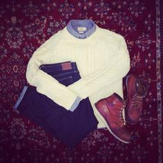 Grayers Shirt, Gant Rugger Cable sweater, J Crew 484 slim jeans, Red Wing boots