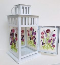 Handmade Fused Glass Summers Flower & Bees Lantern decorated on ALL 4 sides - Indoor/outdoor Ornament Centrepiece Gift Fused Glass Ornaments, Fused Glass Jewelry, Fused Glass Art, Hanging Ornaments, Stained Glass, Glass Candle, Glass Lanterns, Glass Lamps, Pink Cherry Blossom Tree