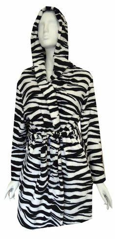 Black and White Zebra Print Hooded Plush Robe for women (One Size)