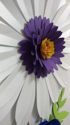 Large Spring Daisy Paper Flower in White, Purple, and Yellow