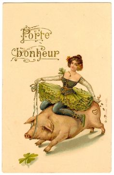 Postcard French New Year Wishes Porte Bonheur Dancer Rides Pig | eBay