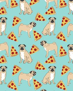 Pug Pizza Party cute pug dog owner gifts food pet gifts puggle puppy dog pet portrait trendy Art Print by PetFriendly | Society6