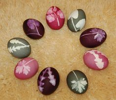 dyed easter eggs with leaves
