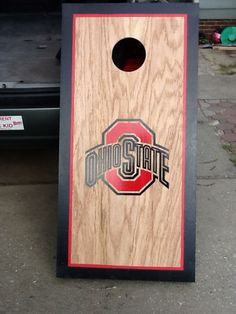 Classic stained look with bold border. These Ohio State boards looked fabulous! Made by Kris with Carolina Commercial Cornhole.