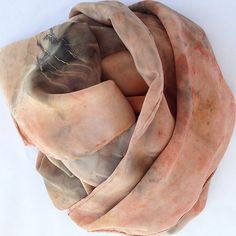 Hand dyed Crepe De Chine Silk Scarf with Plants, Flowers, Red Earth and Hickory Leaves, No chemical dyes or mordants