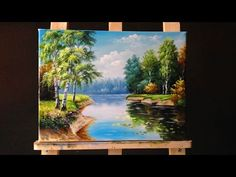 How to Paint Riverbank with Acrylics Lesson 3 - YouTube