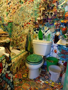 Bathroom in mosaic house -- Venice Beach, CA  That would be tough to clean!