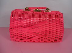1950's Vintage Hot Pink Basket Weave Purse by vintagebluemoon, $95.00