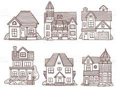 Маленький милый набор houses Сток Вектор Стоковая фотография Sharpie Drawings, Doodle Drawings, Doodle Art, Easy Drawings, Architecture Drawing Art, Cartoon House, House Illustration, Simple Doodles, House Drawing