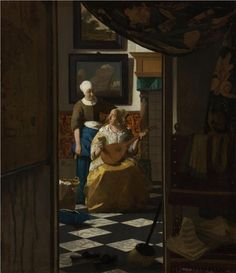 Johannes Vermeer (Dutch 1632–1675) [Baroque, Dutch Golden Age] The Love Letter, c. 1669. Rijksmuseum, Amsterdam.