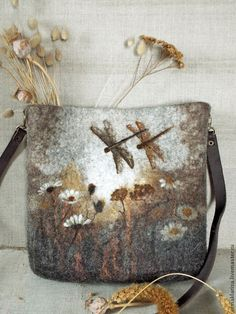 Bags and handmade accessories.  Fair Masters - handmade.  Buy felted bag Sepia.  Handmade.  Multicolored, dragonfly