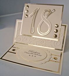 Julie's Inkspot: 18th Birthday Easel Card Use for wedding , I think it looks elegant.
