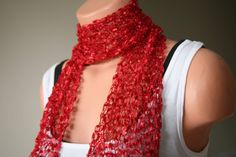 RED scarf FREE SHIPPING hand knitted ladder ribbon trellis long see through gift idea for women girls birthday etsy christmas casual formalby turkishmarket, $25.00